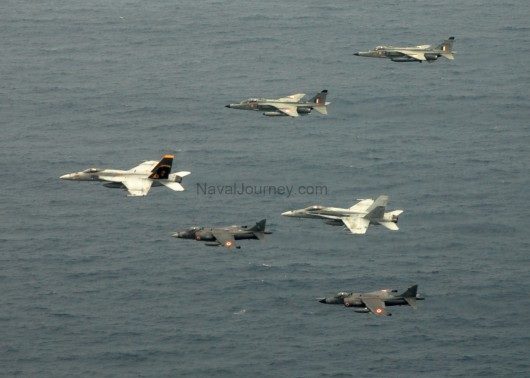 Naval harriers in action with US navy